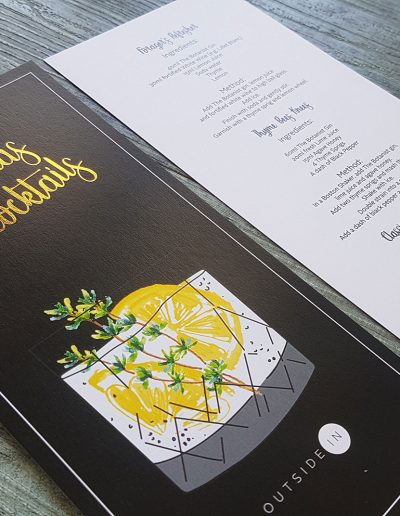 Personalised Christmas cocktail menus