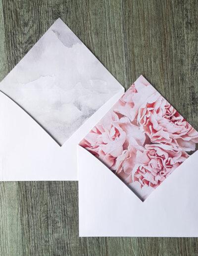 Marble and peonies floral printed envelopes liners