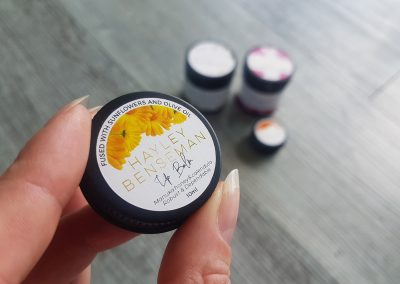 Lip Balm labels for Hayley Benseman, designed and printed by Pinc'