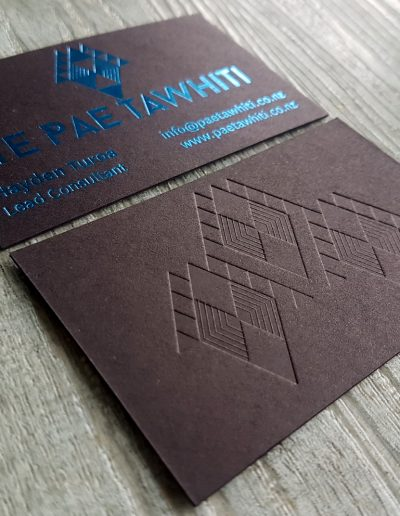 Embossed, debossed business cards, New Zealand made