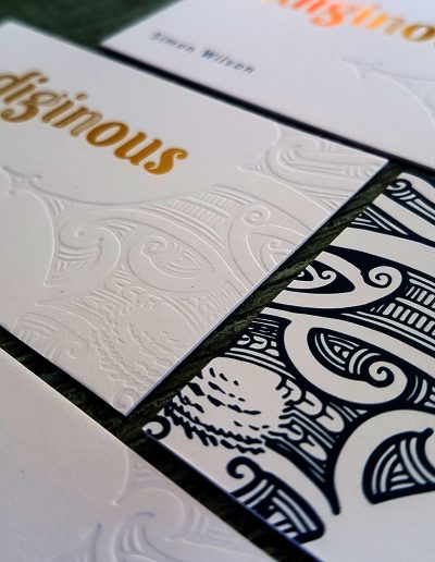 NZ business cards with debossed pattern