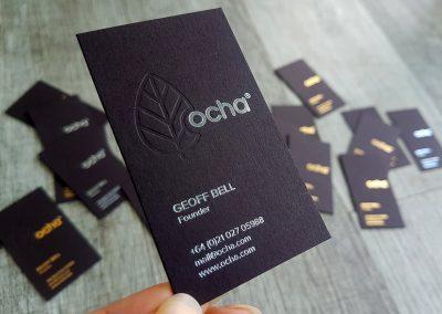 Debossed leaf design on ultra thick 700 gsm black business cards