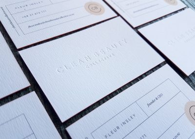 Debossed business cards, subtle indented logo on ultra thick textured white