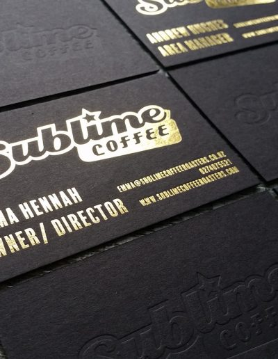 Debossed logo on ultra thick black card