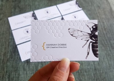 Debossed honeycomb pattern on ultra thick white business cards
