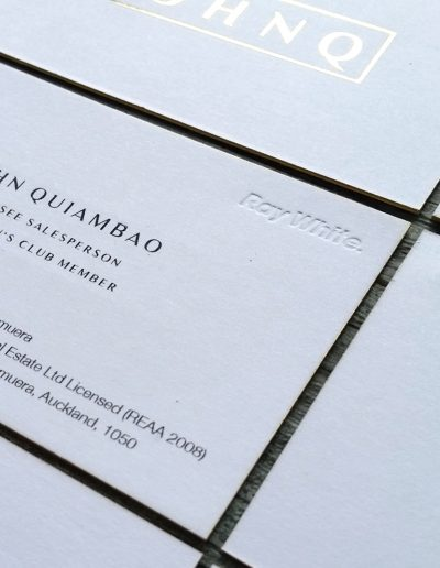 Debossed text into ultra-thick white business card