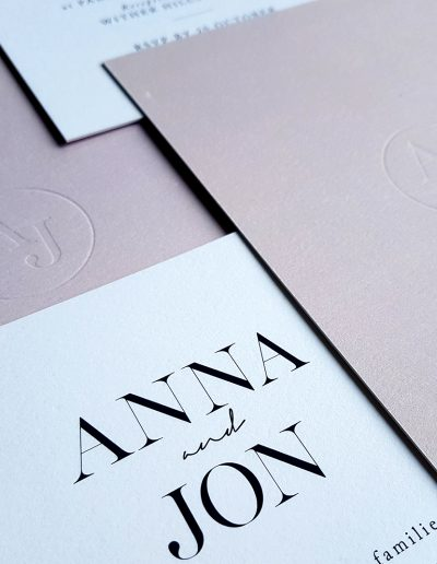New Zealand wedding invitations with debossed initials