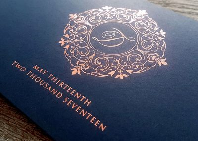 Rose gold and navy monogram
