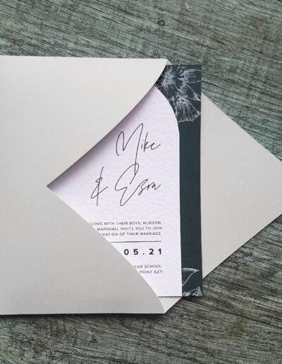 grey envelope with arch die cut envelope