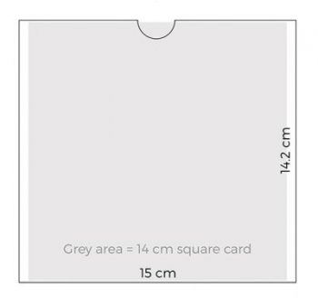 Dimensions of square 14 cm sleeve