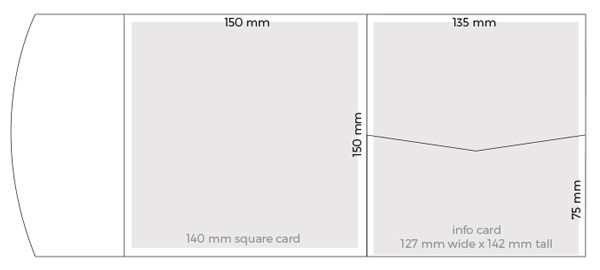 Dimensions of square pocketfold