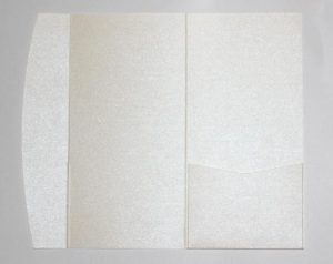 White metallic DLE pocketfold envelope