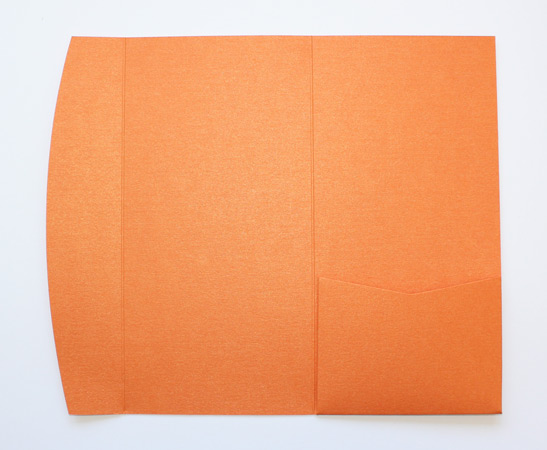 Orange metallic DLE pocketfold envelope