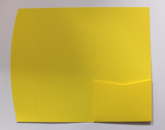 Bright yellow DLE pocketfold envelope