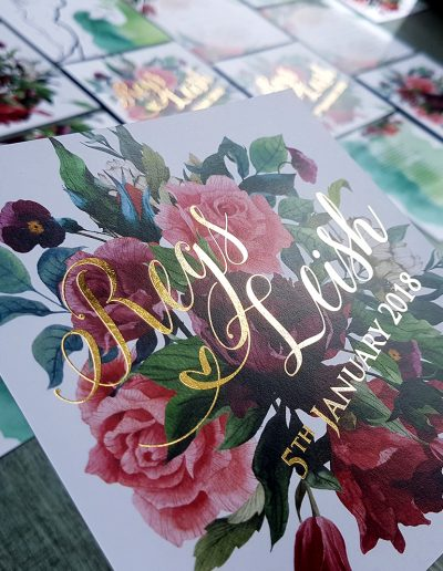 Gold burgundy floral wedding invitations, NZ made
