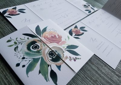 Wedding invitations with custom floral watercolour design