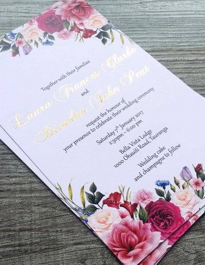 Beautiful floral burgundy and gold wedding invitation design