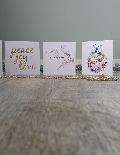 A set of 5 foiled Christmas cards, customisable with your branding