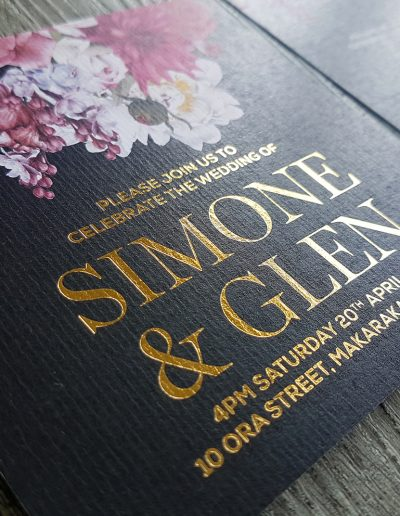 Gold foil wedding invitations with digital printing onto textured white