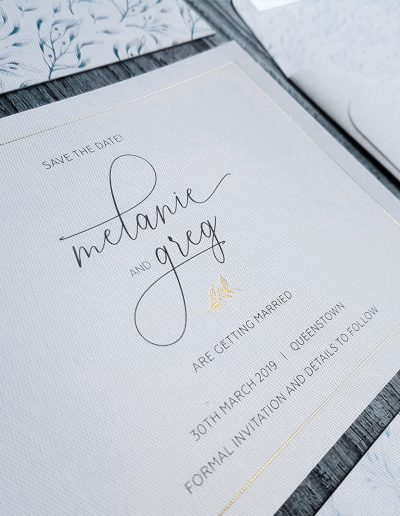 Foil Save The Date on textured white with matching envelope