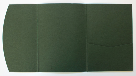 Dark green A6 pocketfold envelope