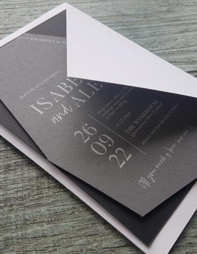 geode wedding invitation with custom envelope