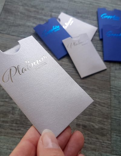 Silver foil on silver gift card sleeves