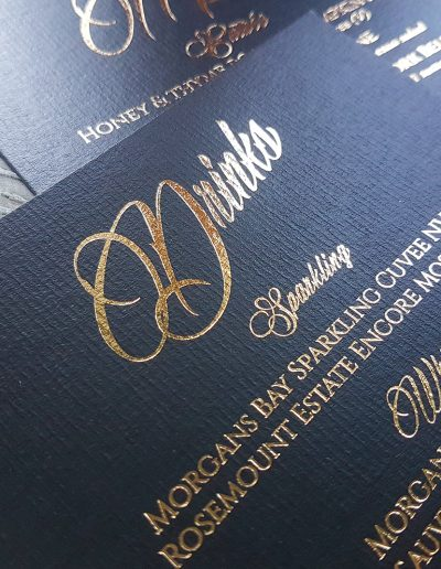 Gold and black reception stationery
