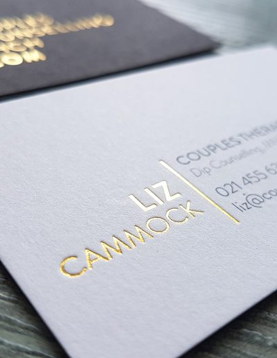 Gold foil pressed into front and back of these sandwiched cards using black and white card
