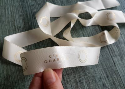 Gold on cream printed ribbon