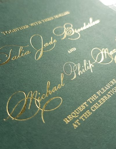 Gold and forest green wedding invitation set