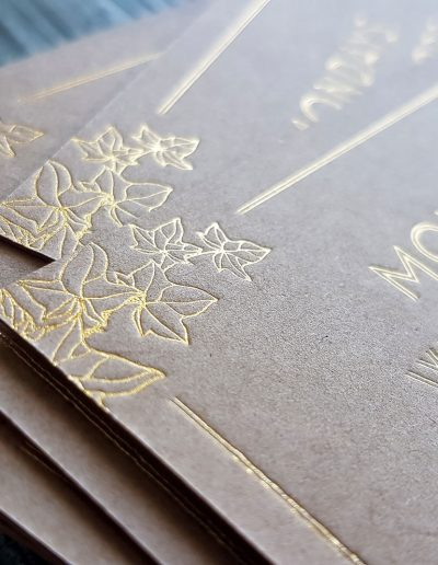 Gold foil on kraft card