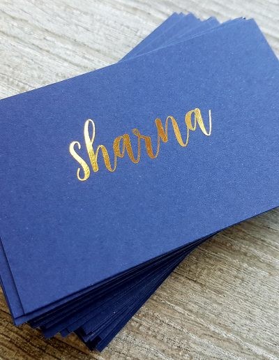 Gold and navy reception place cards