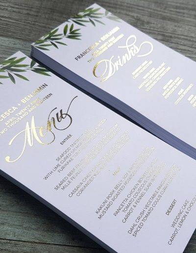 Gold foil wedding reception stationery