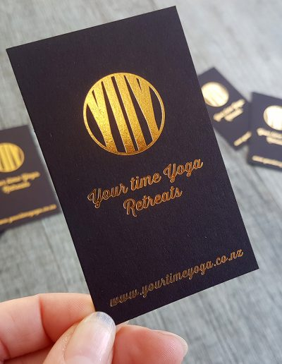 Gold foil stamped onto ultra thick black business cards