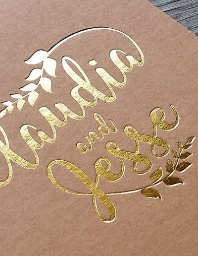 Gold foil pressed into a thick kraft card