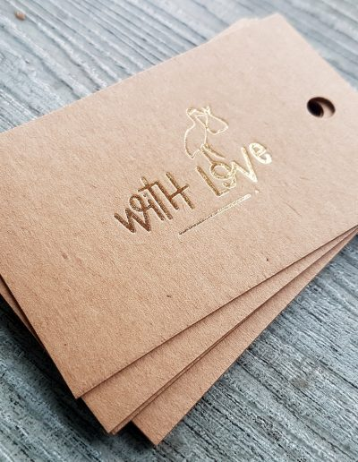 Gold foil on kraft swing tags