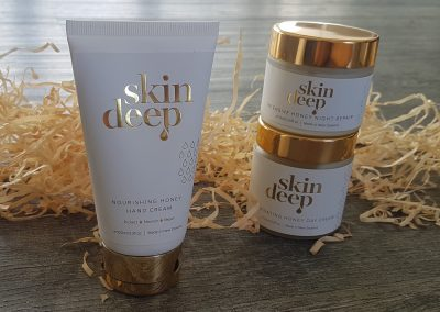 Stunning gold foil stamped detail on skincare labels