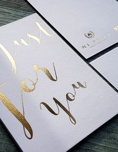 Just For You - gold foiled thank you cards