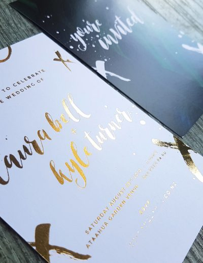 Gold foil wedding invitation for New Zealand wedding