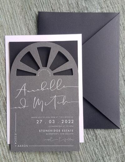 charcoal black and white invitation set