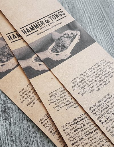 Food wraps designed and printed for Pinc's shop-neighbours, Hammer & Tongs Food Stop