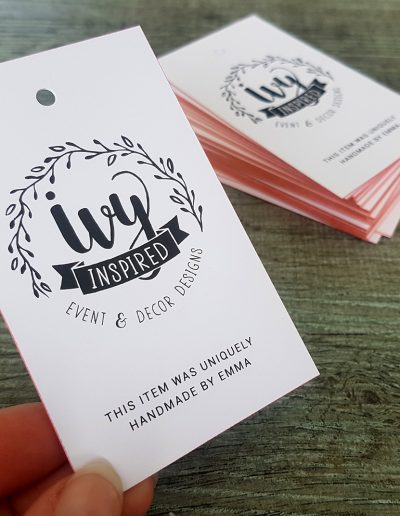 Swing tags printed for Ivy Inspired with rose gold metallic edges