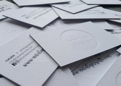 Debossed logo on ultra thick sandwiched business cards
