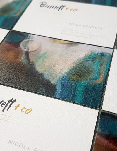 Textured white business cards printed for Bennett + Co