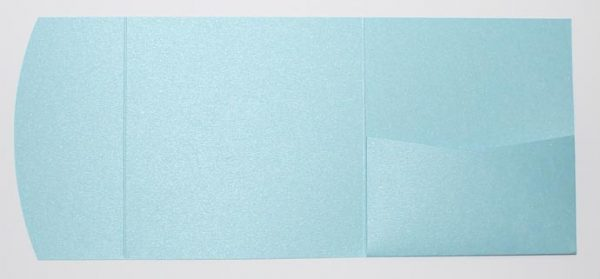 Light blue metallic square pocketfold envelope