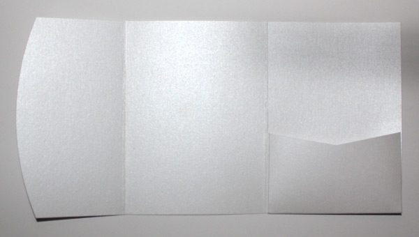 Ice silver white metallic A6 pocketfold envelope