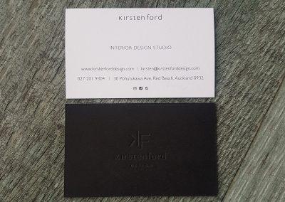 Debossed business cards for interior designer, Kirsten Ford