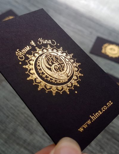 Intricate gold foil detailing on these cards for House of Hina