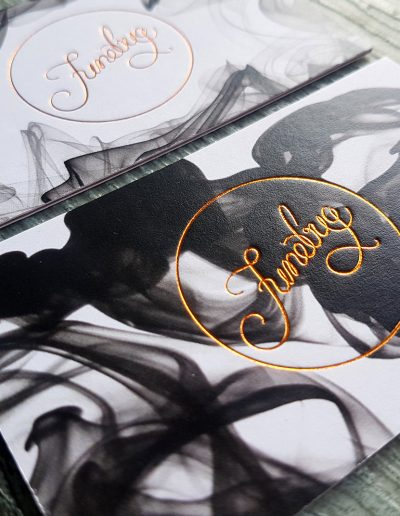 Copper foil stamped business cards for Junebug